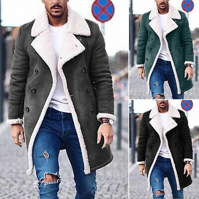 Mens Thick Winter Warm Fur Lined Coat Jacket Plush Parka Overcoat Outerwear