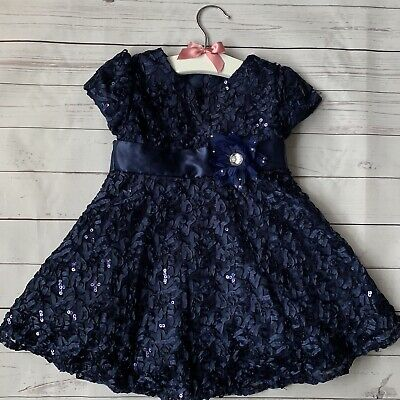 Baby Girls 18 Months - Party Dress - SUGAR PLUM Navy Blue Sequin Christmas Xmas