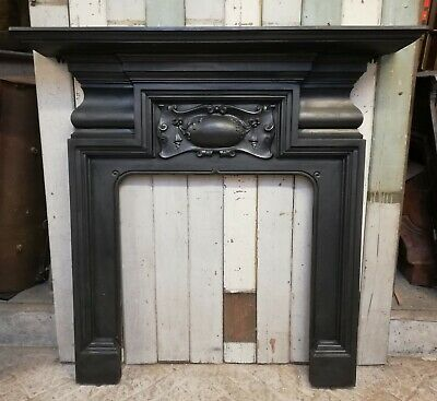 AN ELEGANT LARGE VICTORIAN CAST IRON FIRE SURROUND FOR WOOD BURNER ref FS0084