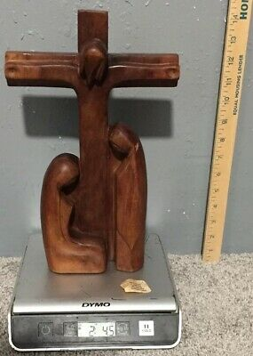 Antique Old Vintage Hand Carved Wooden Jesus Christ Crucifix Church Altar Cross