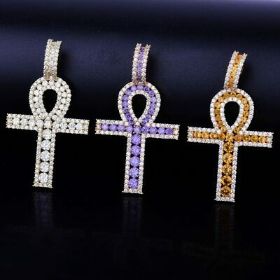 Key Of Life Ancient African Egyptian AAA Bling Ankh Cross Pendant Bling Chain