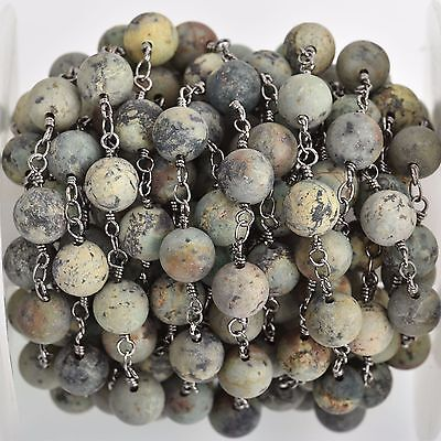 3ft Matte Green AFRICAN TURQUOISE Gemstone Rosary Chain, gunmetal 8mm fch0747a
