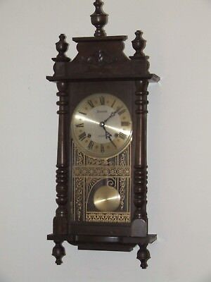 Vintage Working ANSONIA Vienna Regulator Wall Clock 31 Day Mechanical Movement
