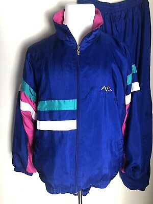 Vtg 80s 90s LAVON Windbreaker Jogging TRACK SUIT Purple Color Block Size XL