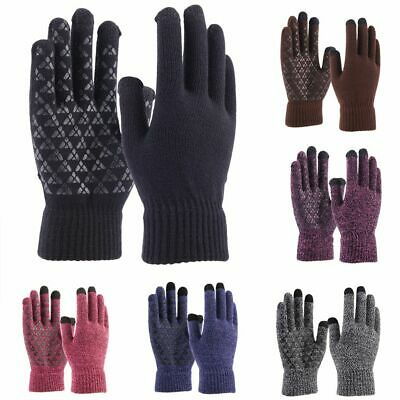 Men Women Winter Snow Gloves Windproof Warm Thick Knit Thermal Touch Screen Gift