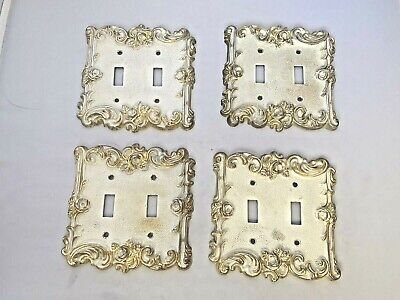 Lot of 4 Vintage 1967 American Tack & Hardware Double Switch Plate Covers White