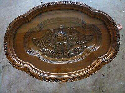 Antique American Eagle Walnut Carved Coffee Cocktail Tray Serving Table all orig