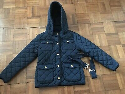 Marks & Spencer Girls Navy Quilted Hooded Jacket Hooded  Size 5-6yrs Vgc