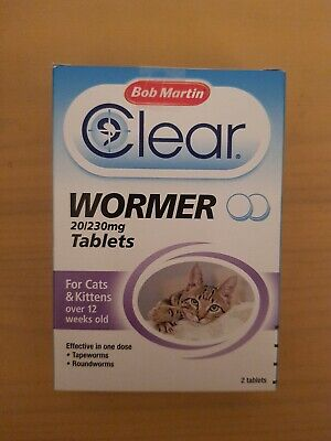 Bob Martin clear wormer for cats & kittens 20/230 mg 2 tablets