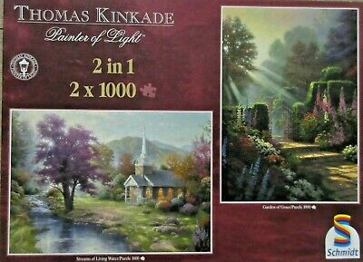 Puzzle Set - Kinkade, Garden of Grace + Streams of Living - 2 x 1000 Teile