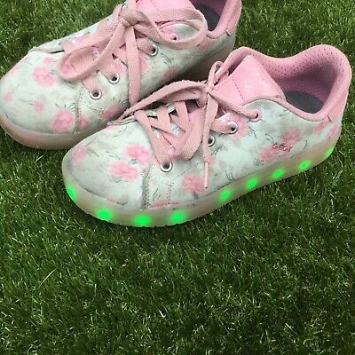 Geox girls light up trainers pink floral shoes size 1