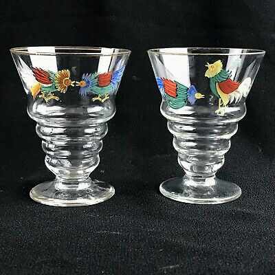 Two Vintage Art Deco Hand Painted Rooster Cockerel Cocktail Glasses Cordials