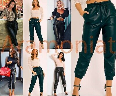 Womens Ladies Faux Leather High Waist Joggers Jogging Bottoms Pants Trousers