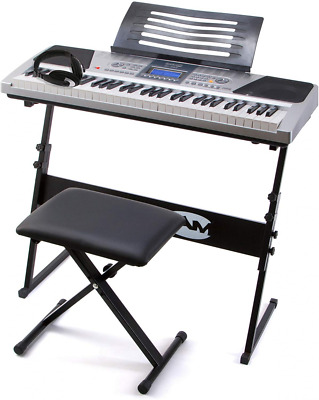 RockJam RJ661 61 Key Electronic Interactive Teaching Piano Keyboard with Stand,