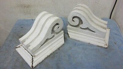 Two Architectural Solid House Antique Wood Salvaged Bracket Corbels