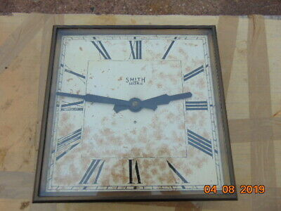 LARGE 1930s SMITH SECTRIC WALL CLOCK TEAK CASE BRASS & PLATE GLASS HINGED BEZEL