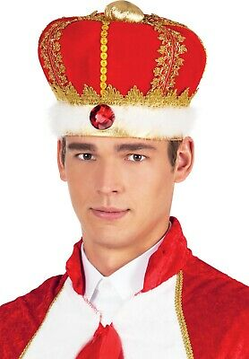 King Crown Gold Red Panne Adult Hat Costume Accessory Royalty Jewels