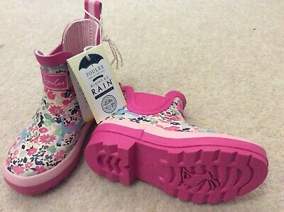 New tag Joules Wellibobs Kids Durable Rubber Ankle boots In Pink Size UK 9 gift