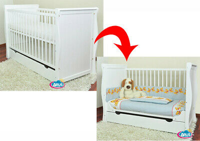 Baby cot / Baby bed with drawer / Junior bed SARA II white + mattress