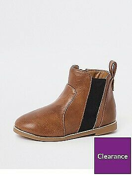 Girls Tan Croc Panel Patent Boots By River Island SIze 7 UK - Brown