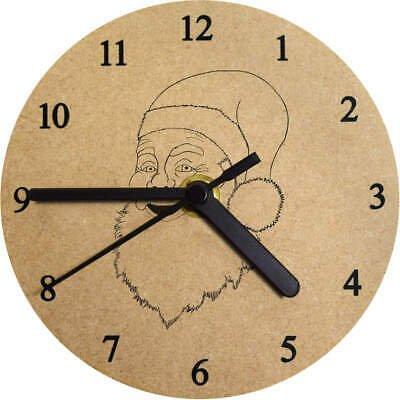 'Father Christmas' Printed Wooden Wall Clock (CK009220)