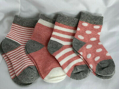 4 Pairs Baby Boy Girl Cotton Socks Infant Toddler Muted Red Gray