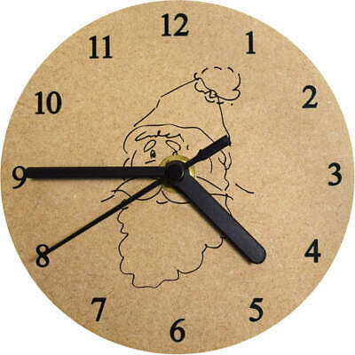 'Father Christmas' Printed Wooden Wall Clock (CK009426)
