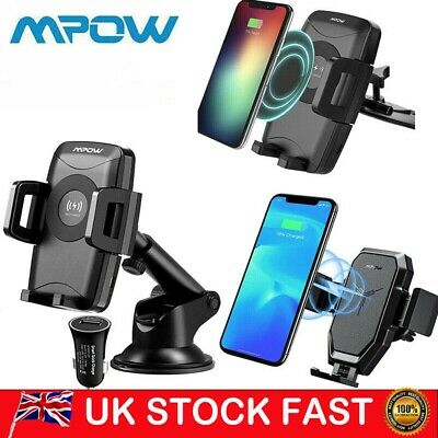 Mpow 360° Qi Car Fast Charger Holder Phone Mount Stand Dashboard CD Slot Suction