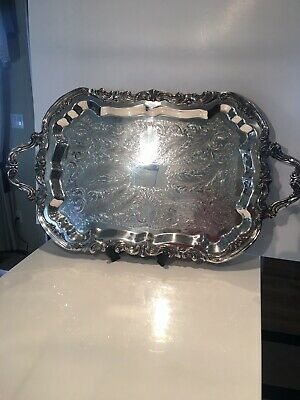 """VINTAGE FB ROGERS CO 25"""" x 14 1/2"""" FOOTED SILVER-PLATE TRAY ~ BEAUTIFUL ~"""