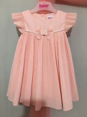 Stunning Baby Girls Designer Ted Baker Pink Pleated Occasion Party Dress 6-9m🎀