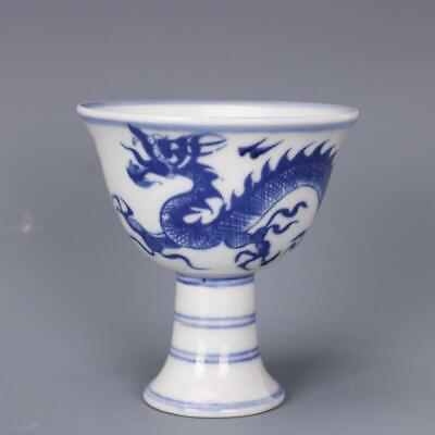 """3.3"""" Old Chinese Porcelain daming xuande mark Blue & white dragon Gaojiao Cup"""