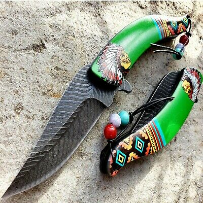 "8"" Native Green HANDLE Spring Assisted Pocket Knife Rainbow Blade 3cr13 Steel"
