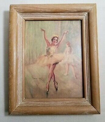 "Vintage Mid Century 9""x10"" Fried Pal French Ballerina Lithograph Print In Frame"