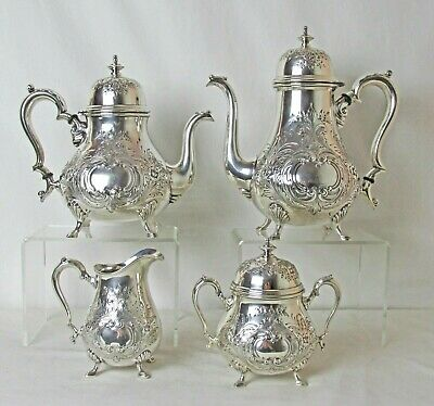 Silver Plated 4 Pc Set Georgian Charm International Silver C: 1930'S Hand Chased