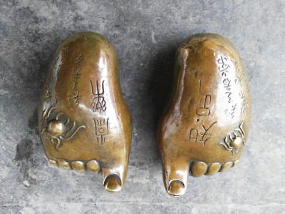 Collectibles Chinese Brass Copper Handwork Carved Spider Buddha Foot Statue Z79