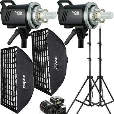 2x Godox MS300 300W 2.4G Wireless Studio Strobe Flash + Softbox + Stand +Trigger