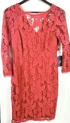 NWT Adrianna Papell Womens Red Cocktail Dress Flora Shear See Through Sz 10 1443