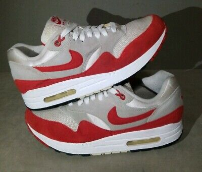 NIKE AIR MAX 1 Size 8 Qs White Sport Red 378830 161 2009 Og