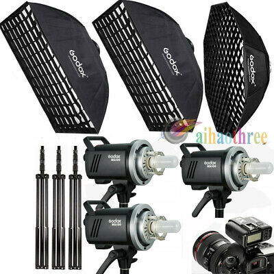 3x Godox MS300 300W 2.4G Wireless Studio Strobe Flash Softbox Stand Trigger Kit