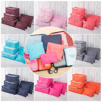 6Pcs Travel Organiser Pouches Storage Bag Packing Cubes Clothes Suitcase Luggage