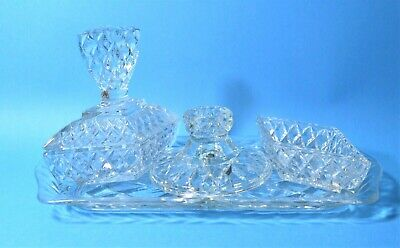 Ladies Clear Glass Art Deco Dressing Table Set With Tray Cut Class Star Burst Vt