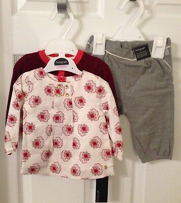 Baby Girls Marks And Spencer Autograph 3 Piece Outfit/Set - Age 3-6 Months BNWT