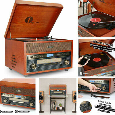 1byone Vintage Bluetooth Turntable Record Player with Speakers 3 Speed Music MP3