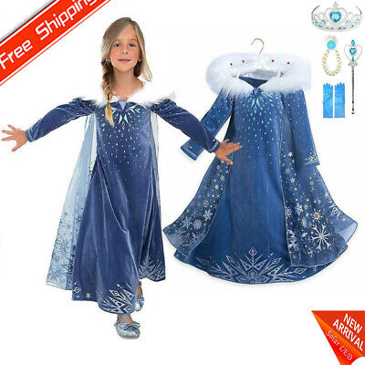 Elsa Dresses Kids Girls Costume Princess Party Fancy Cosplay Dress winter