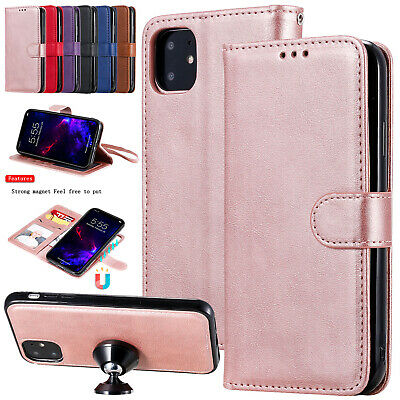 For iPhone 11 Pro Max XS XR 7 8+ 6s Cover Magnetic Leather Removable Wallet Case