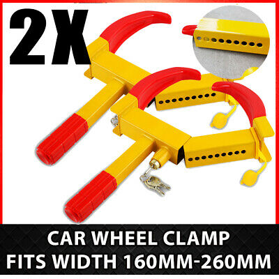 2 PACK Wheel Clamp Car Boat Trailer Security Lock Anti-theft Claw Van + Key