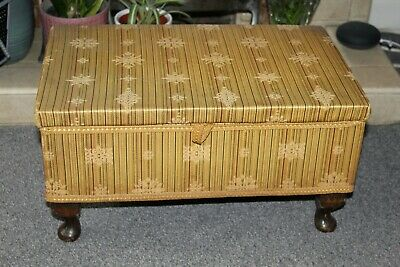 Vintage Sherborne Sewing Box Footstool Queen Anne Legs - Reupholstery Project