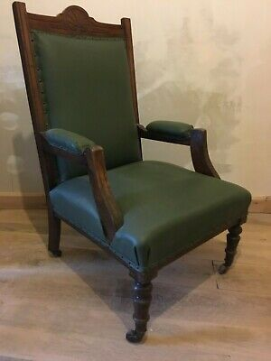Three Arts and Crafts Green Upholstered Mahogany Salon Suite Armchairs Victorian