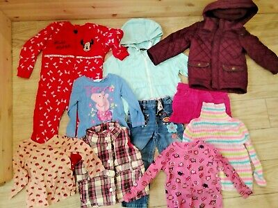 Size 2- 3 year old Girls clothes Bundle Coat, jeans skirt, Peppa Pig gillet pink