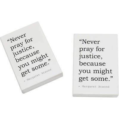 2 x 45mm Religion Quote By Margaret Atwood Erasers / Rubbers (ER00017342)